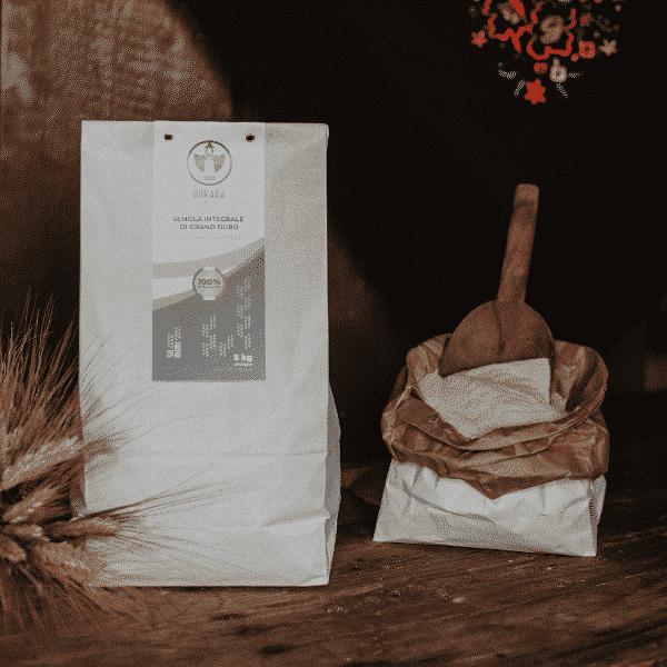 Semola integrale di grano duro Senatore Cappelli Dorada, 100% sarda, macinata a pietra 5kg